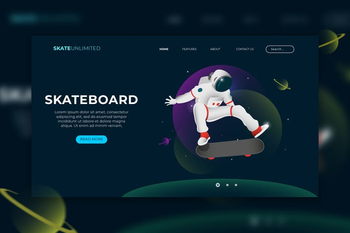 Thumbnail for Skateboard Web Header Vector Template