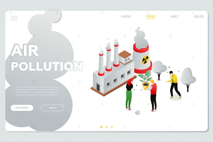 Thumbnail for Air pollution - colorful isometric web banner