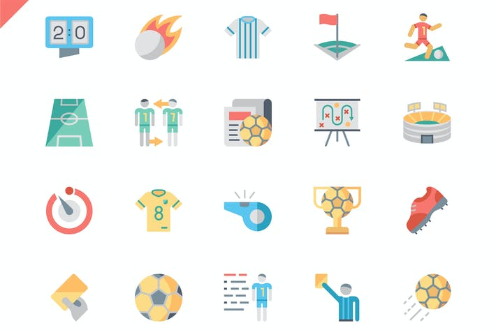 Thumbnail for Simple Set Soccer Flat Icons