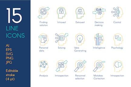 Mental Activity Icons Set