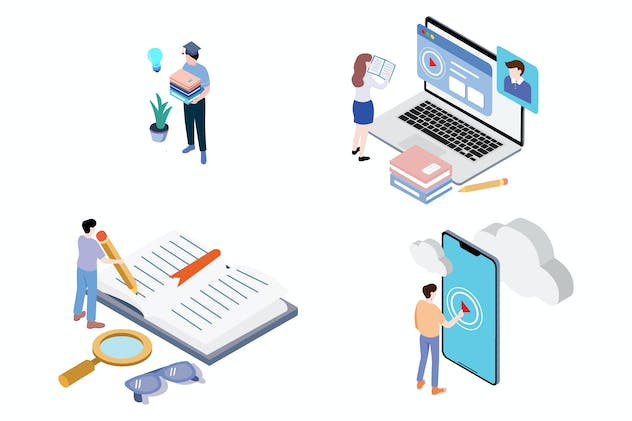 Online Distance Education Isometric - G1