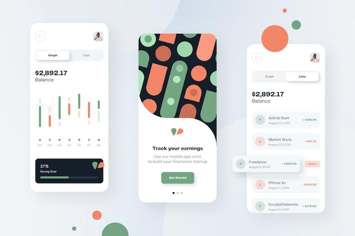 Finance Money Mobile App UI Kit Template