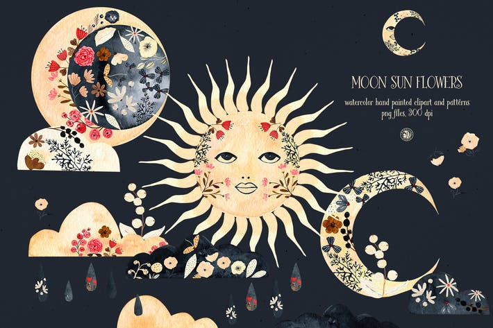 Mond Sonne Blumen - Aquarell-Set