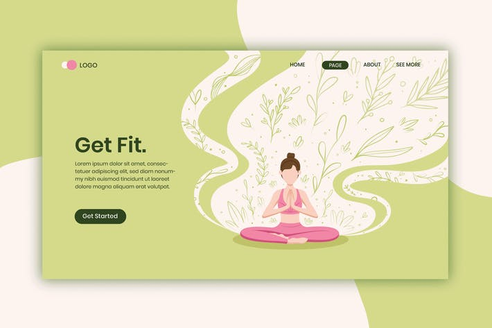 Get Fit Flat Landing Page Template pv02