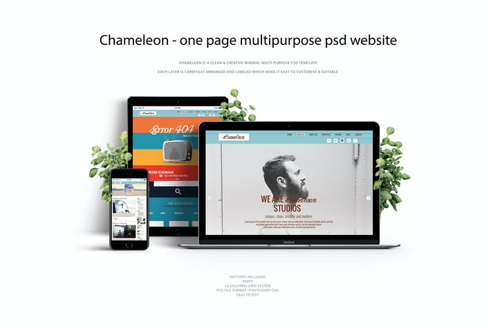 Chameleon One Page Multipurpose Psd Template By Squirrel92 On