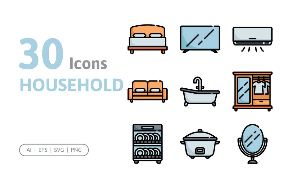 30 Haushalts-Symbole
