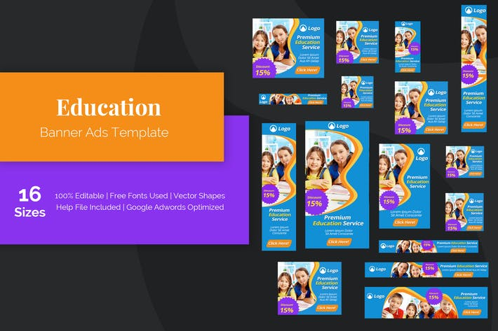 Thumbnail for Education Banner Ads Template