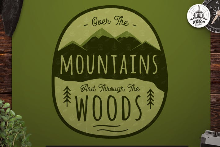 Cover Image For Vintage Hiking Logo Patch / Retro Mountains Badge