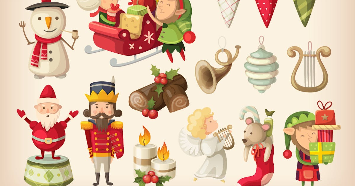 Download Set of colorful Christmas items. Part 2 by moonery