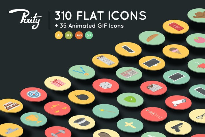 Thumbnail for PixityLand 310 Flat Icons