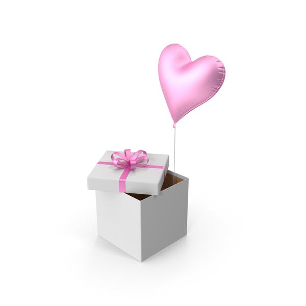 Pink Heart Balloon Gift Box