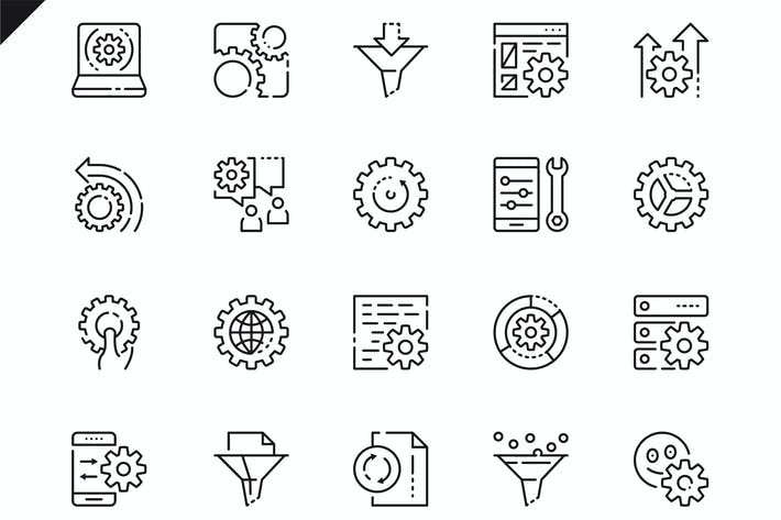 Thumbnail for Simple Set Data Processing Line Icons