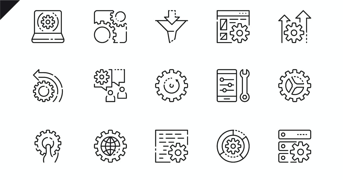 Simple Set Data Processing Line Icons by Unknow