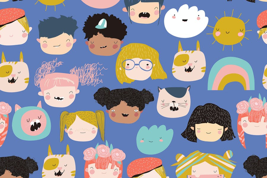 Vector seamless pattern of a cute kids faces on a