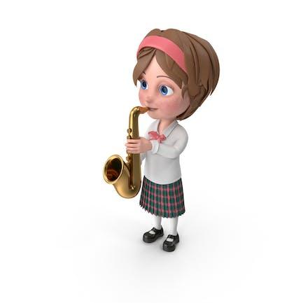 Cartoon Mädchen Meghan spielen Saxophon