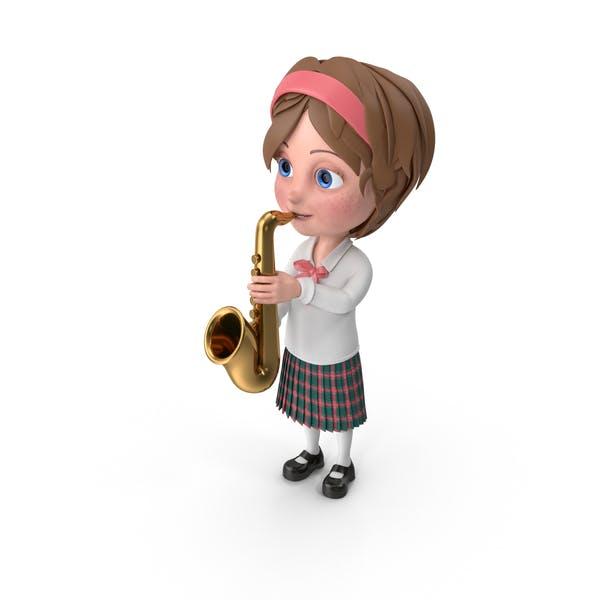 Мультфильм девушка Меган играет саксофон