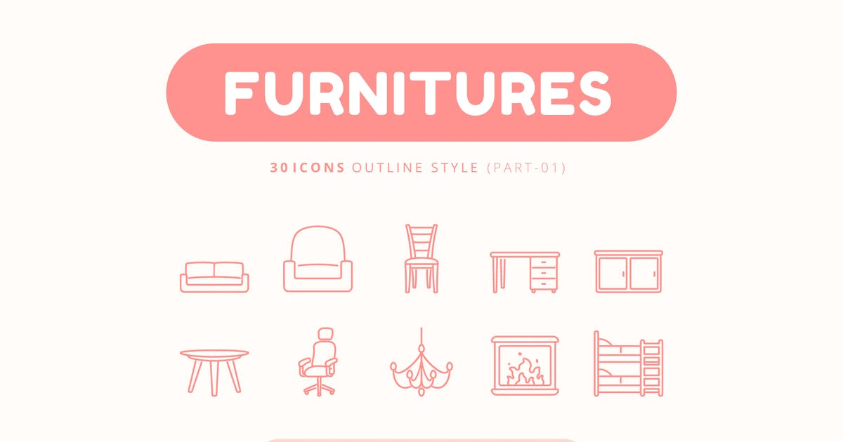 Download 30 Icons Furnitures Part-01 Outline Style by Victoruler