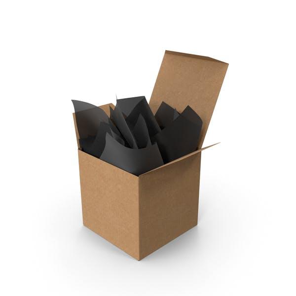 Крафт квадратная упаковочная коробка с черной подарочной бумагой