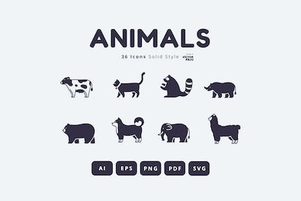 36 Tiere Icons Solid Style