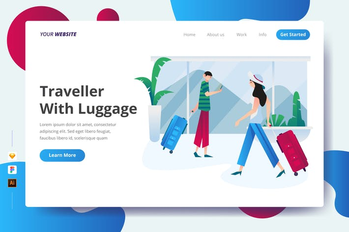 Thumbnail for Traveller With Luggage - Landing Page