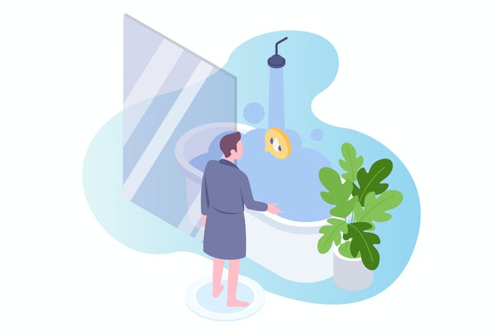 Cover Image For Smart Bath 2 Voice Control Isometric Illustration