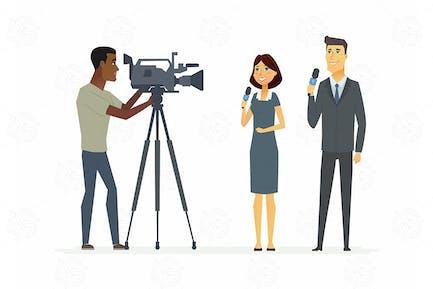 TV presenters - vector illustration