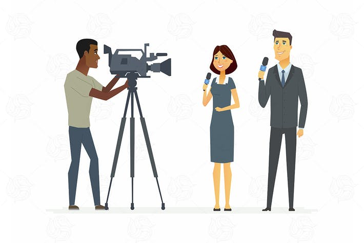 Thumbnail for TV presenters - vector illustration