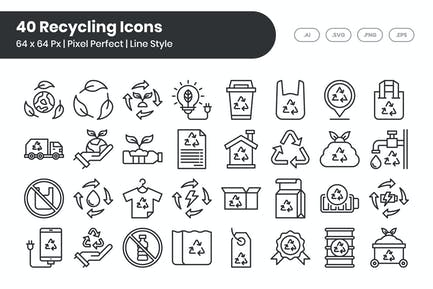 40 RecyclingIcons -Set - Linie