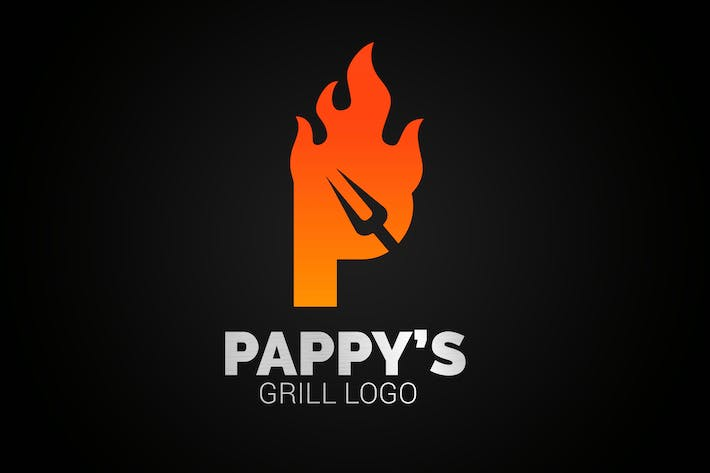 Thumbnail for Letter P Fire Grill Logo