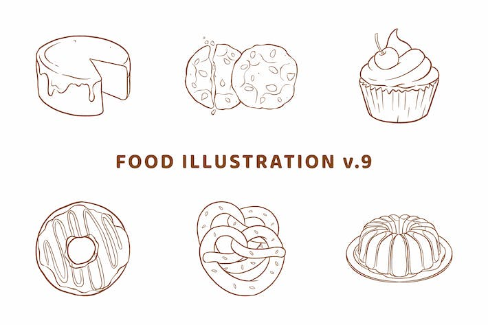 Thumbnail for Food Illustration V.9 (Outline Version)