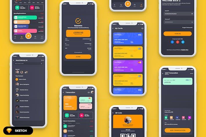Thumbnail for Finance MobileApp UI Dark Version (SKETCH)