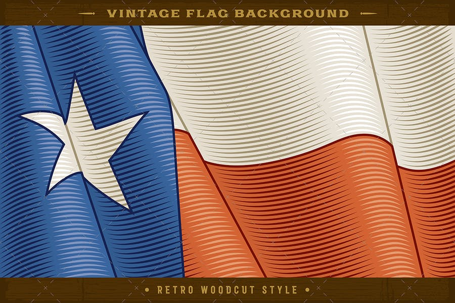 Vintage Flag Of Texas. Close-up Background