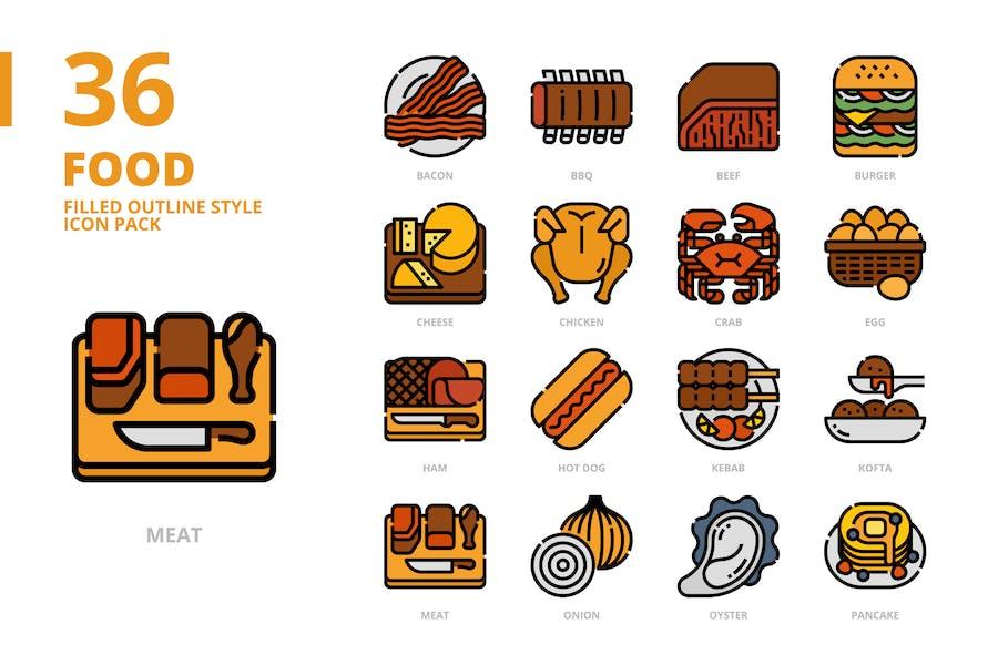 Lebensmittel gefüllte Kontur Stil Icon Set