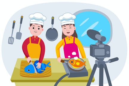 Broadcasting live event with Chefs cooking