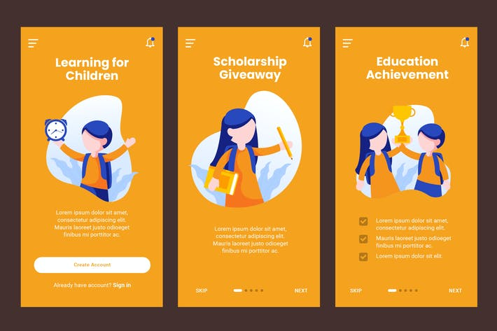 Thumbnail for Onboarding Screen For Children Education Template