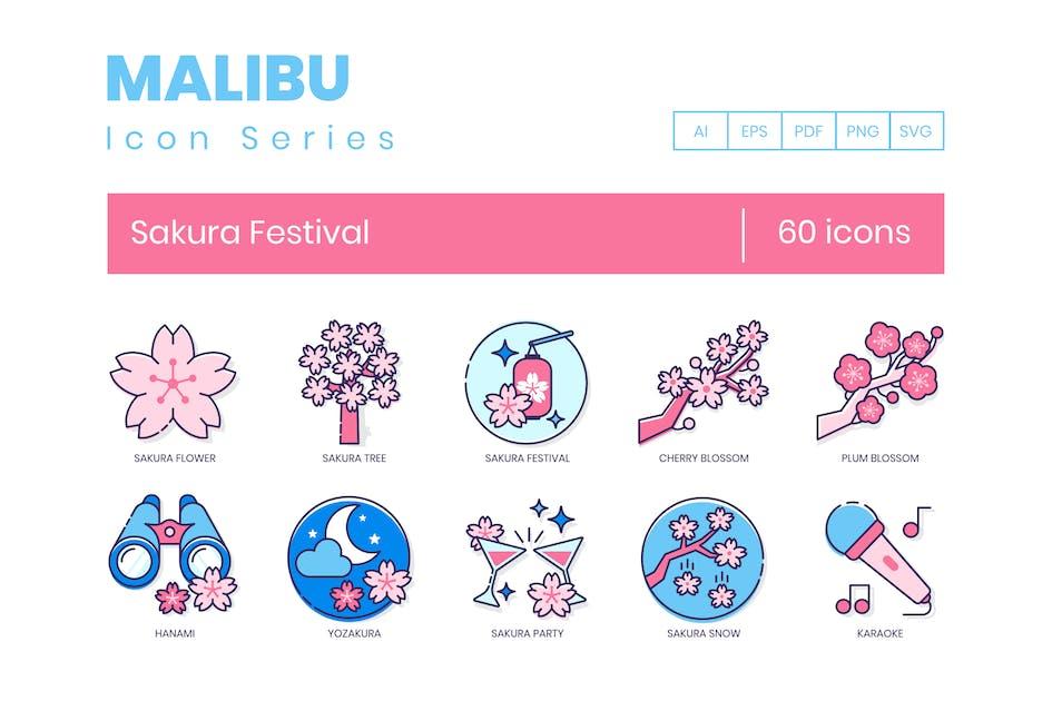 Download 60 Sakura Festival Icons - Malibu Series by Krafted