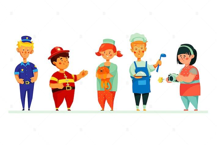 Thumbnail for Дети в карьерных костюмах - набор персонажей