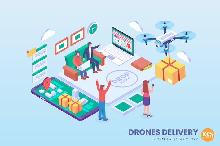Thumbnail for Isometric Drone Delivery Vector Concept
