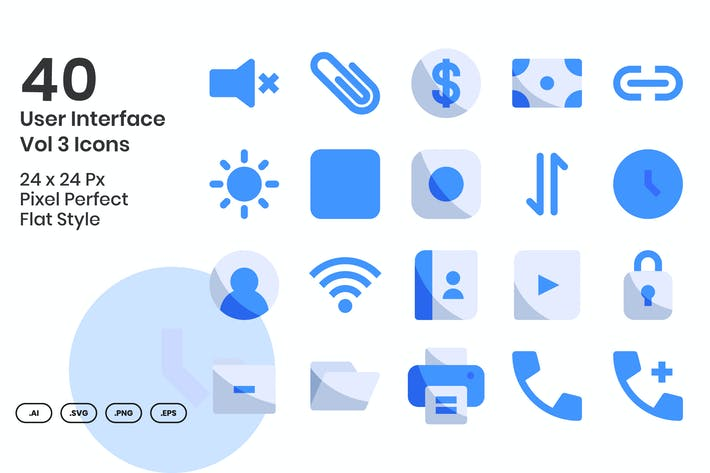 Thumbnail for 40 Benutzeroberfläche Vol 3 Icons Set - Flach