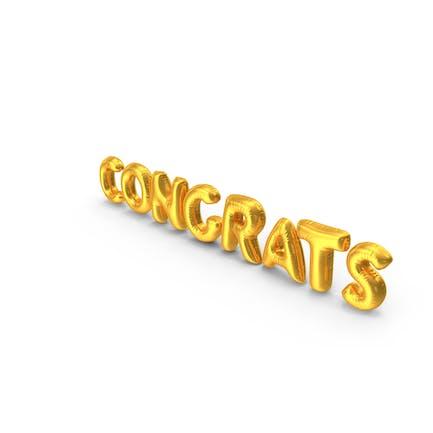 Golden Balloon Words Congrats