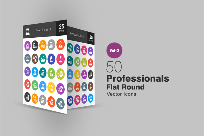 Thumbnail for 50 Professionals Flat Round Icons