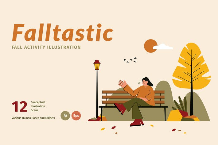 Thumbnail for Falltastic Landing Page Graphic Illustration