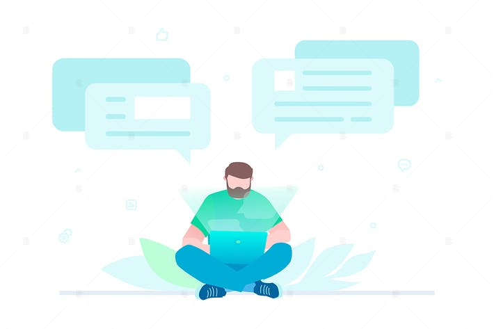 Thumbnail for Chatting online - flat design style illustration