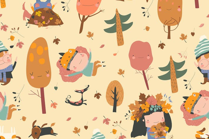 Thumbnail for Vector seamless pattern with happy kids playing wi