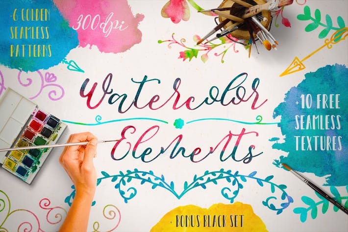 Thumbnail for Watercolor Elements + Free Textures