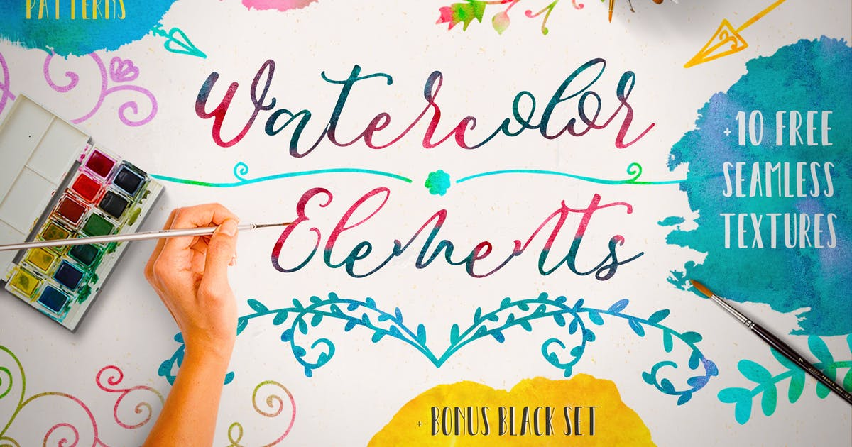 Download Watercolor Elements + Free Textures by helga_helga