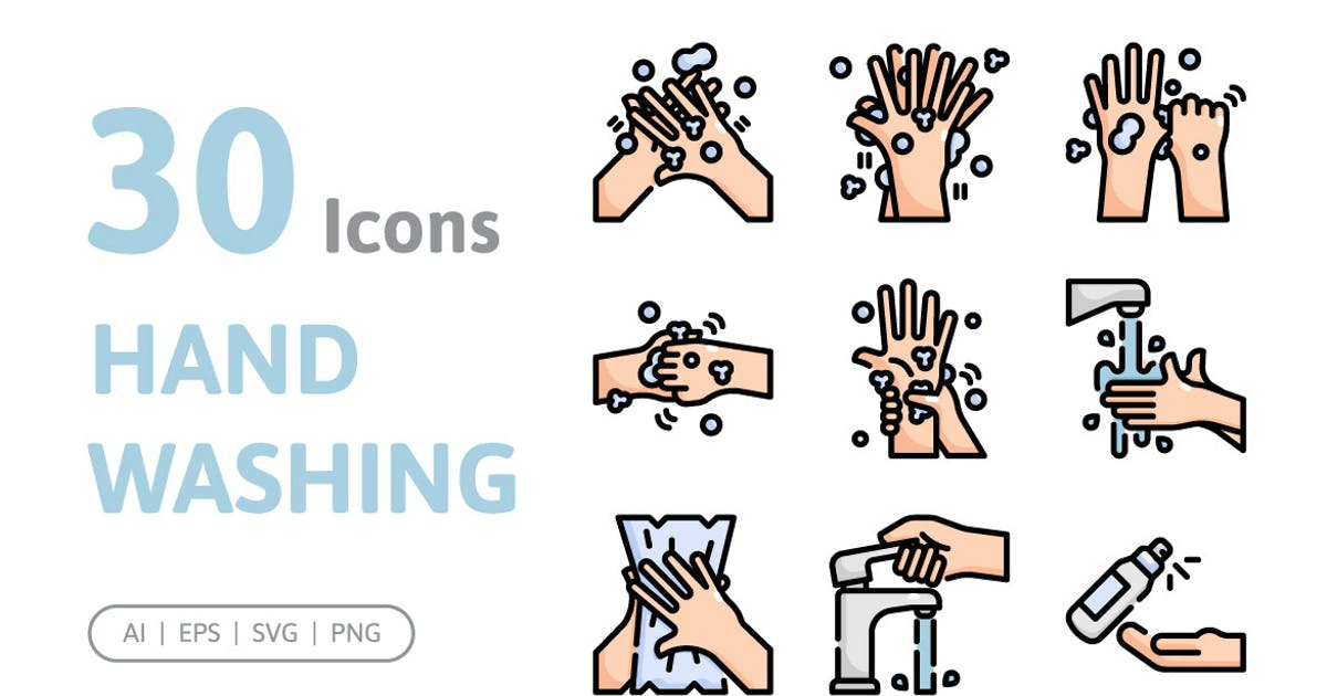 Download 30 Hand Washing Icons by konkapp