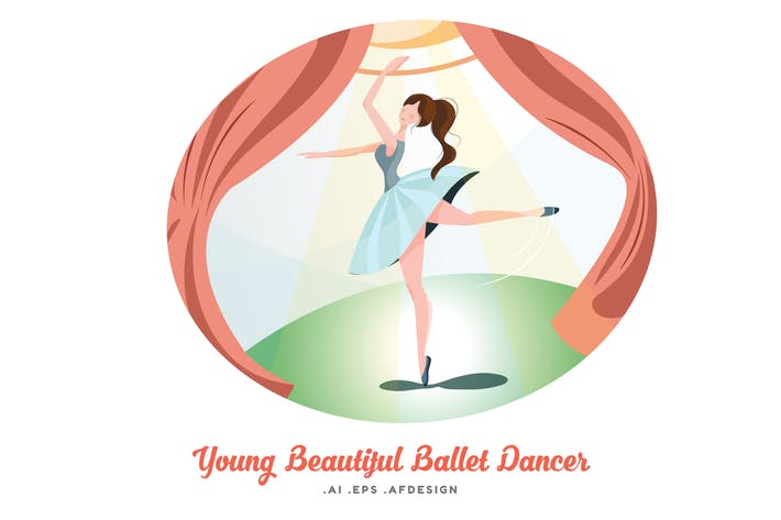 Thumbnail for Young Beautiful Ballet Dancer Vector Illustration