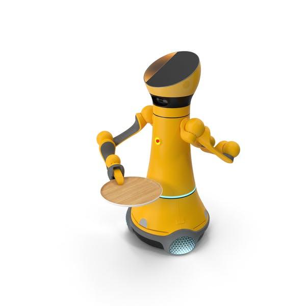 Robot de servicio con bandeja de madera