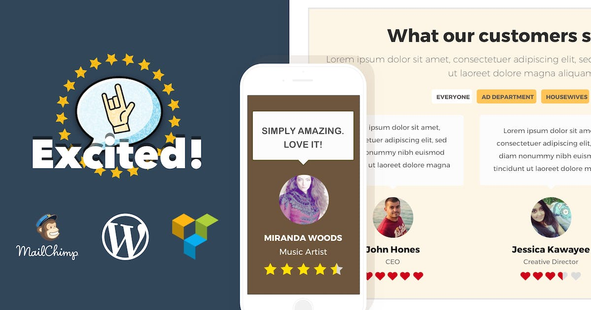 Download Testimonials Showcase for WordPress — Excited! by looks_awesome